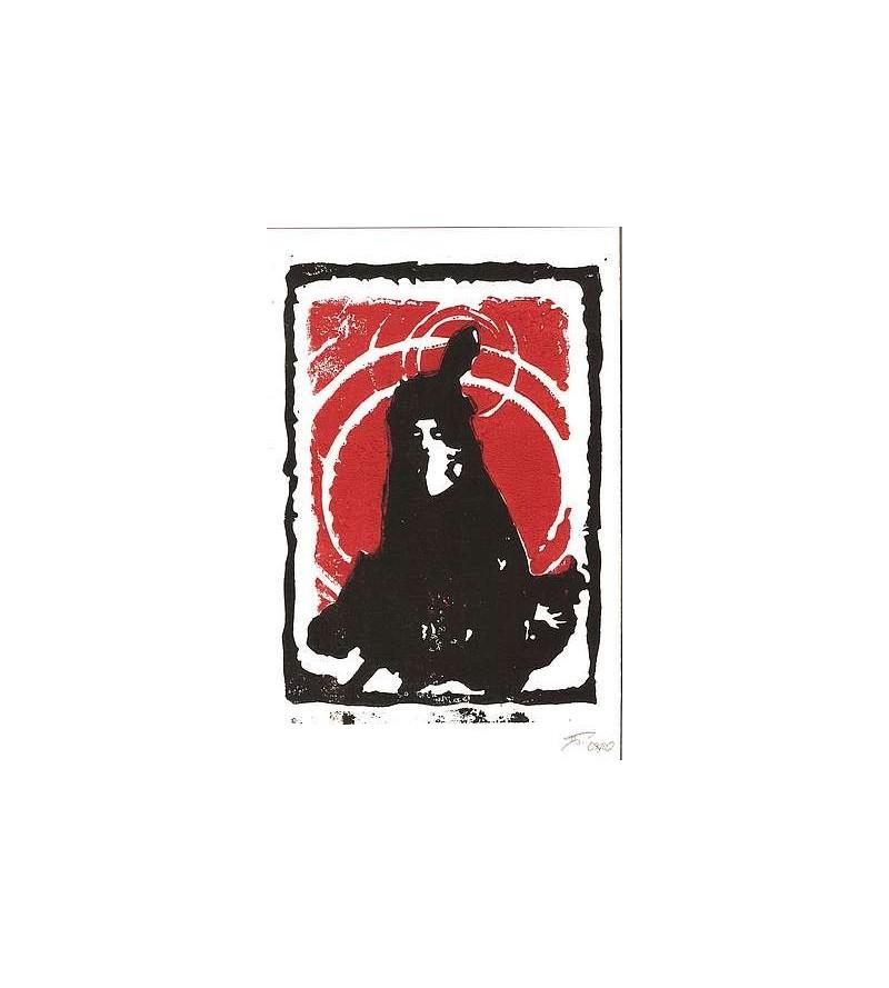 Linogravure La fille à l'oiseau (édition limitée)