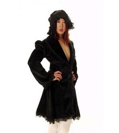 Manteau noir Lolita en toile et dentelle