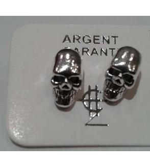 Paire de boucles d'oreilles puces en argent, crânes 2