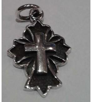 Pendentif en argent, croix noire et argentée
