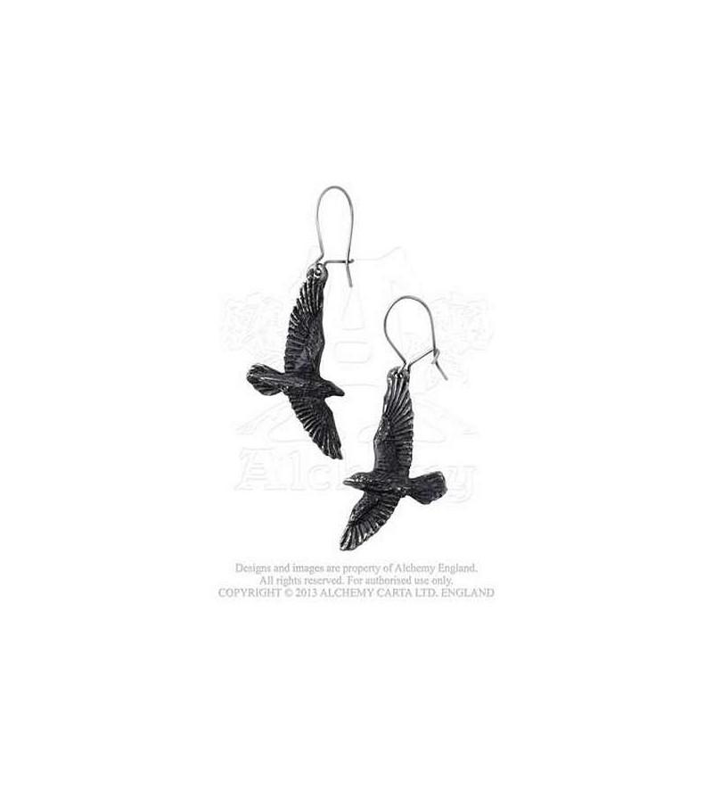 Paire de boucles d'oreilles Black raven