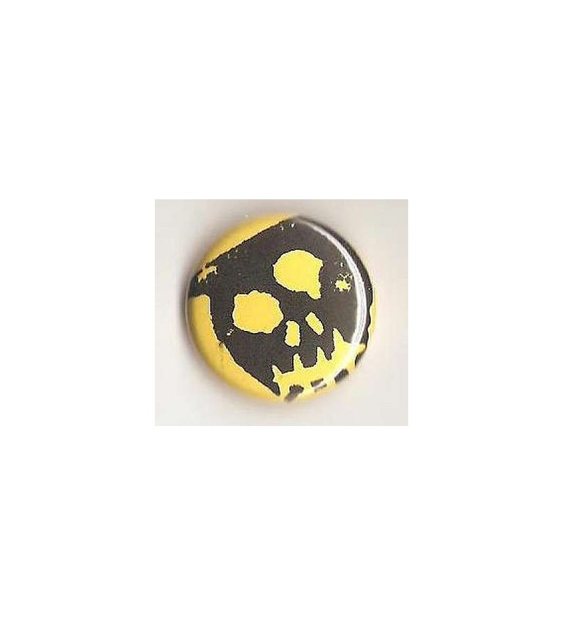 Badge jaune linogravure gros crâne