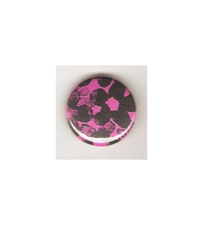 Badge rose linogravure fleurs