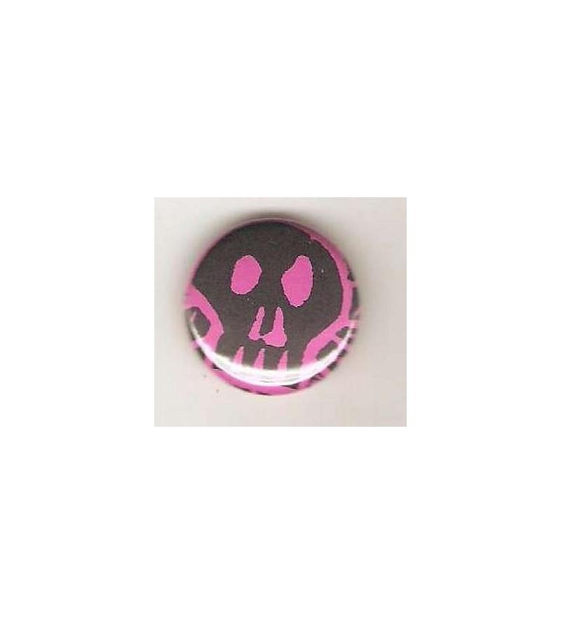 Badge rose linogravure gros crâne