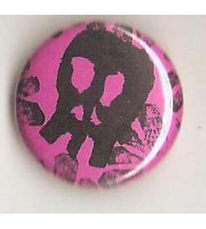Badge rose linogravure petit crâne et fleurs