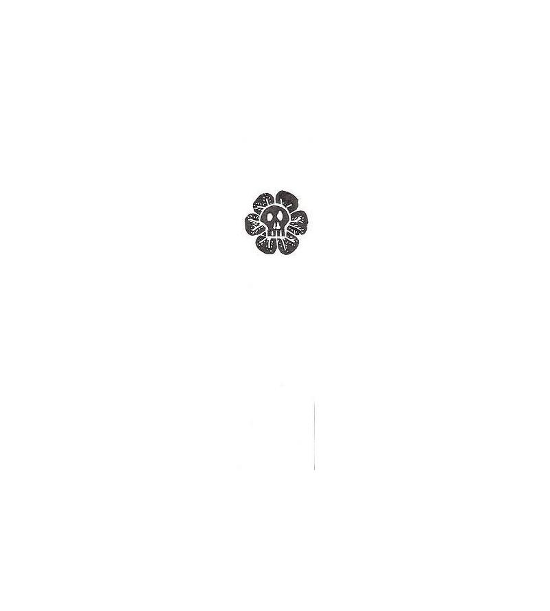 Marque-page linogravure crâne-fleur