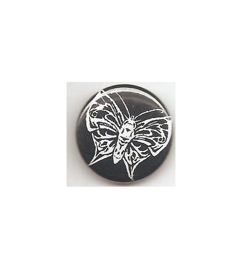 Badge Papillon blanc – fond noir