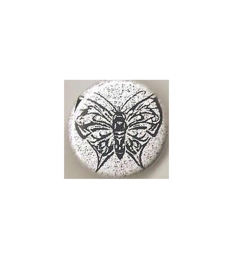 Badge Papillon noir – fond blanc tacheté