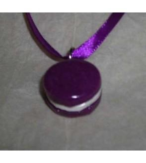 Collier Macaron violette-vanille