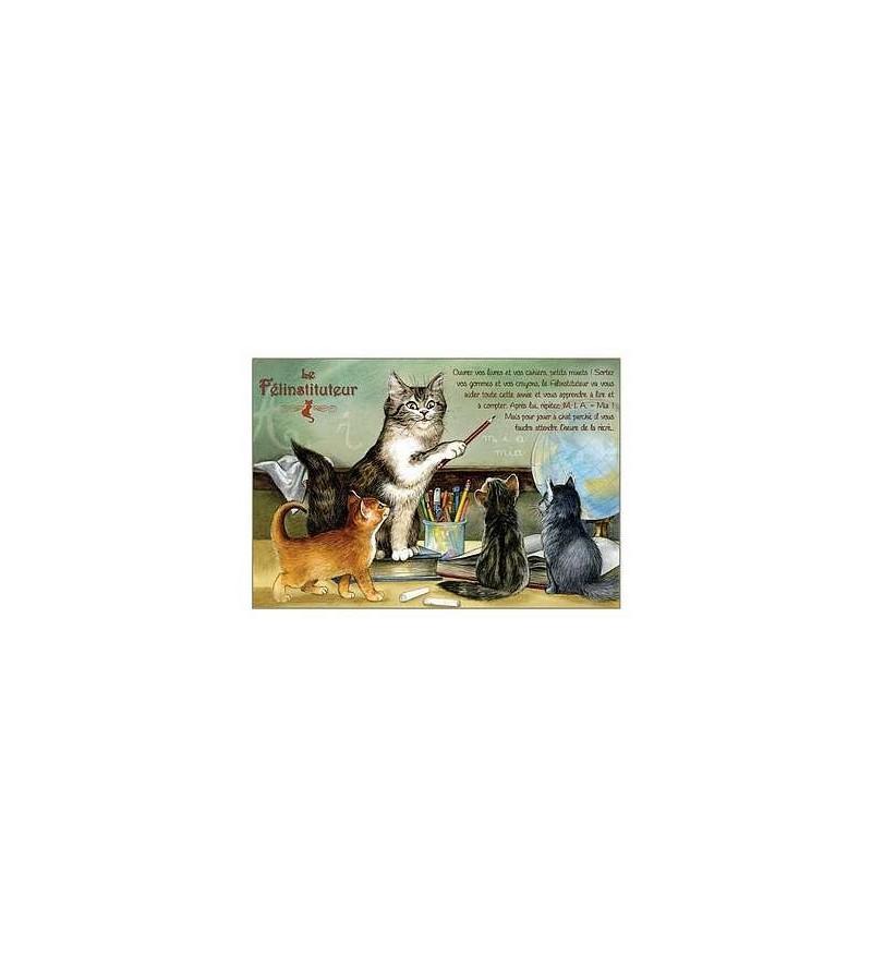 Carte postale Le félinstituteur