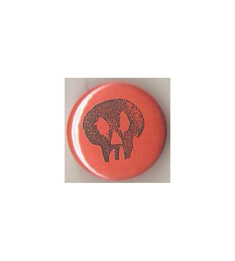 Badge orange linogravure petit crane