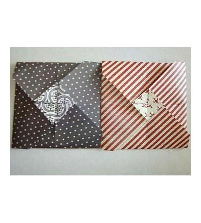 Lot de deux petites cartes + enveloppes en origami (noire à pois & rayée rouge et blanc)