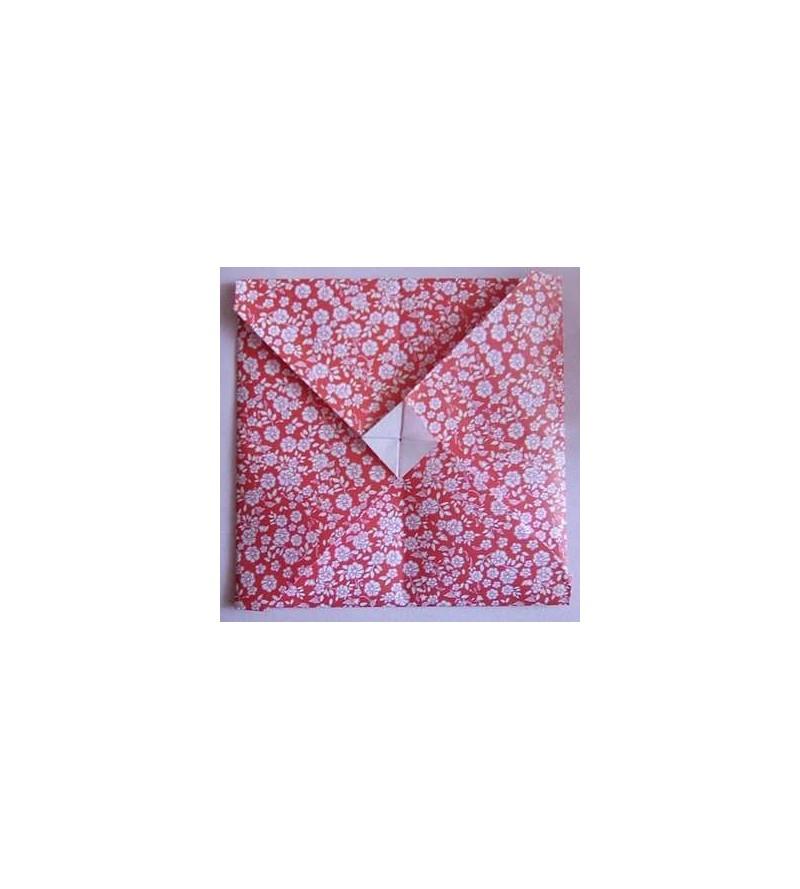 Carte + enveloppe en origami fleurie (rouge)