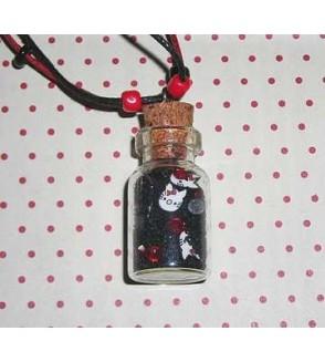 Collier fiole noire et rouge Chats