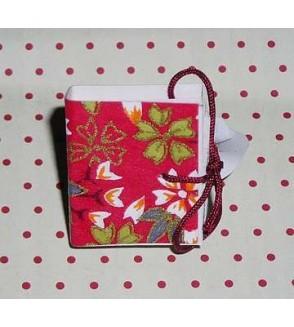Bague livre en papier origami rouge à fleurs