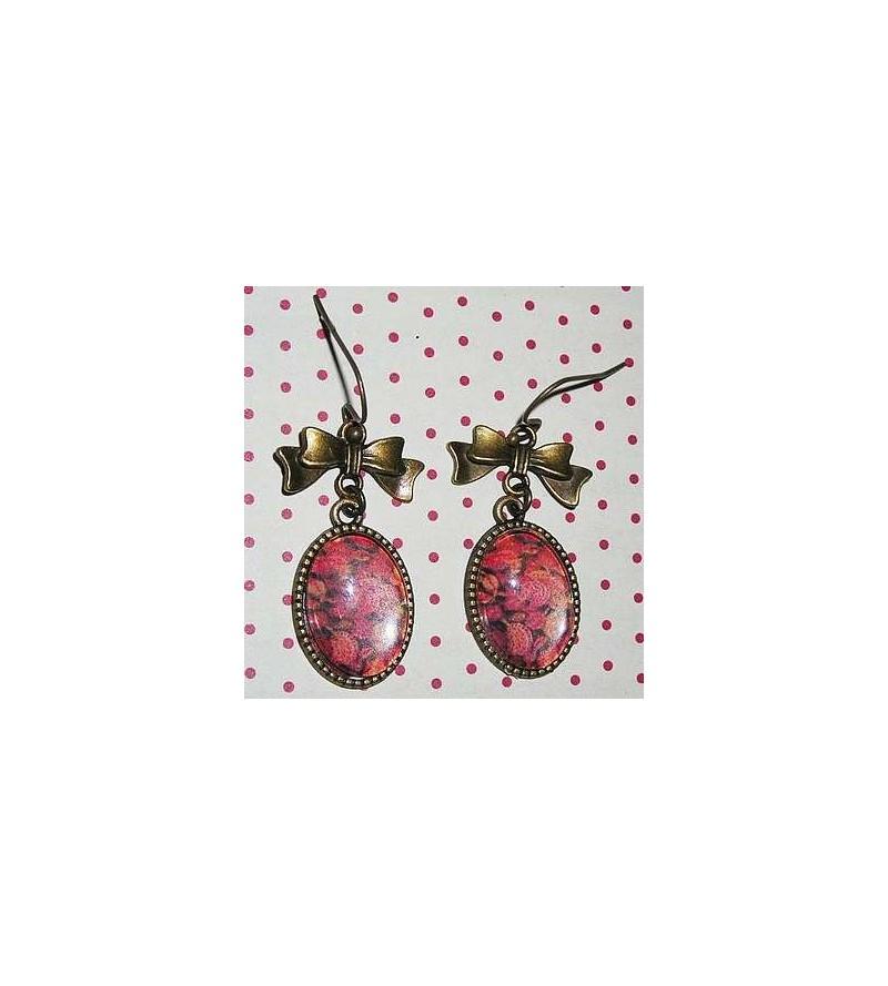 Paire de boucles d'oreilles cabochons Fleurs (Séraphine de Senlis)