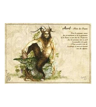 Carte postale Avril – mois du faune