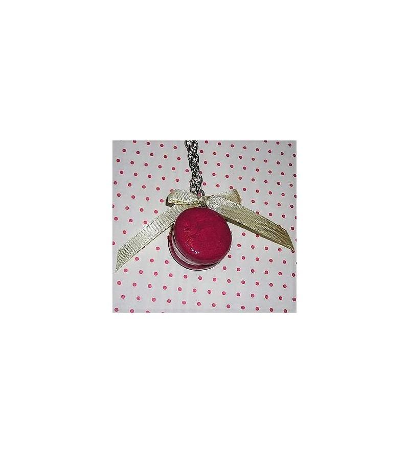 Collier Macaron framboise-vanille