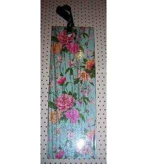 Marque-page avec ruban, motif fleurs sur fond bleu