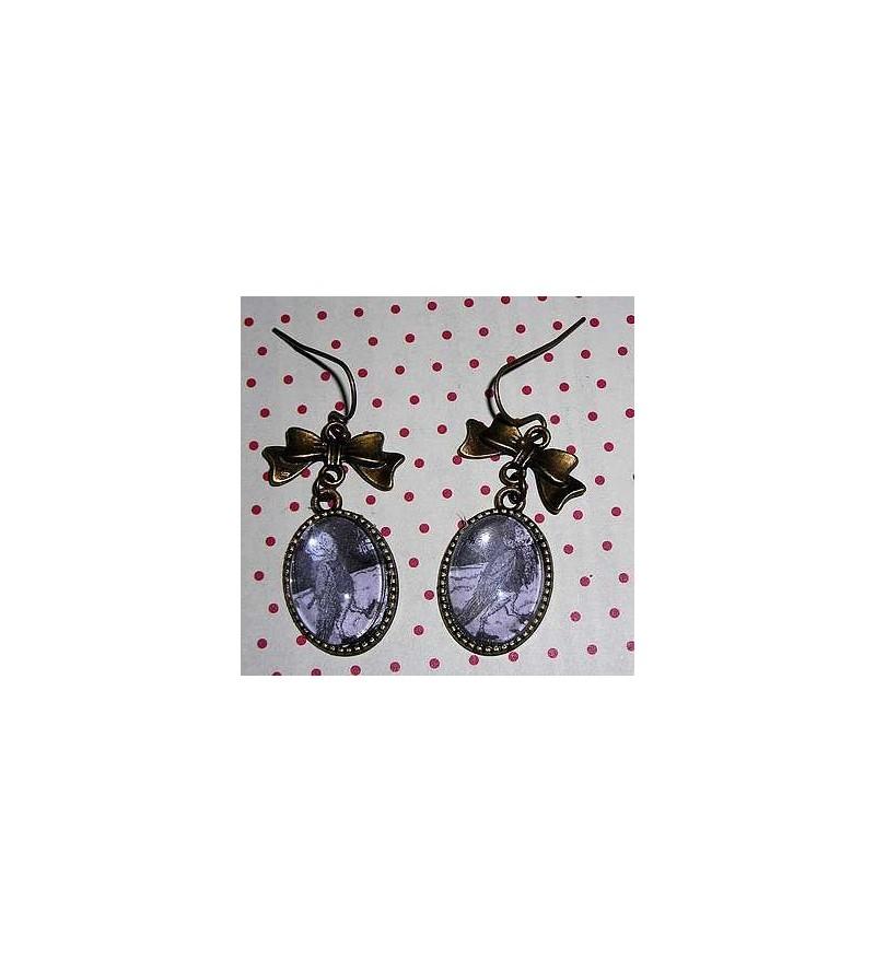 Paire de boucles d'oreilles cabochon Animaux (Nielson)