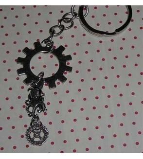 Porte-clés rouages argentés & poulpe