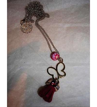 Collier perle & papillon rouge & doré