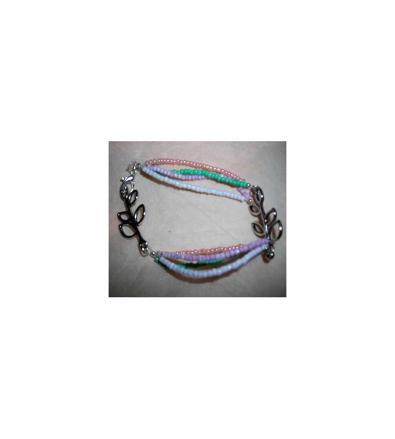 Bracelet perles & feuilles