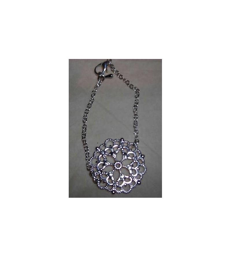 Bracelet rosace argentée
