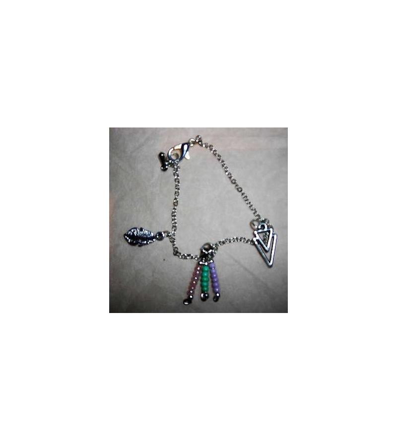 Bracelet perle, feuille & triangle