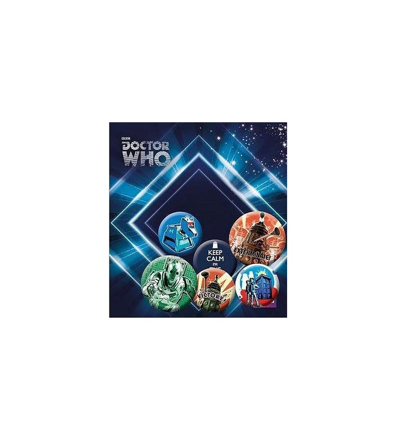 Lot de 6 badges Doctor Who