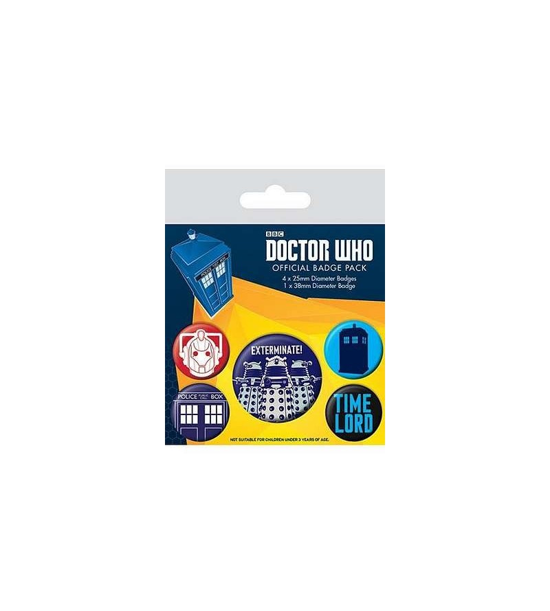 Lot de 5 badges Doctor Who