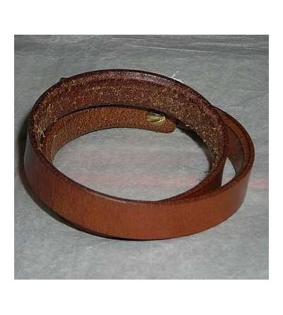 Bracelet en cuir marron clair double lanière