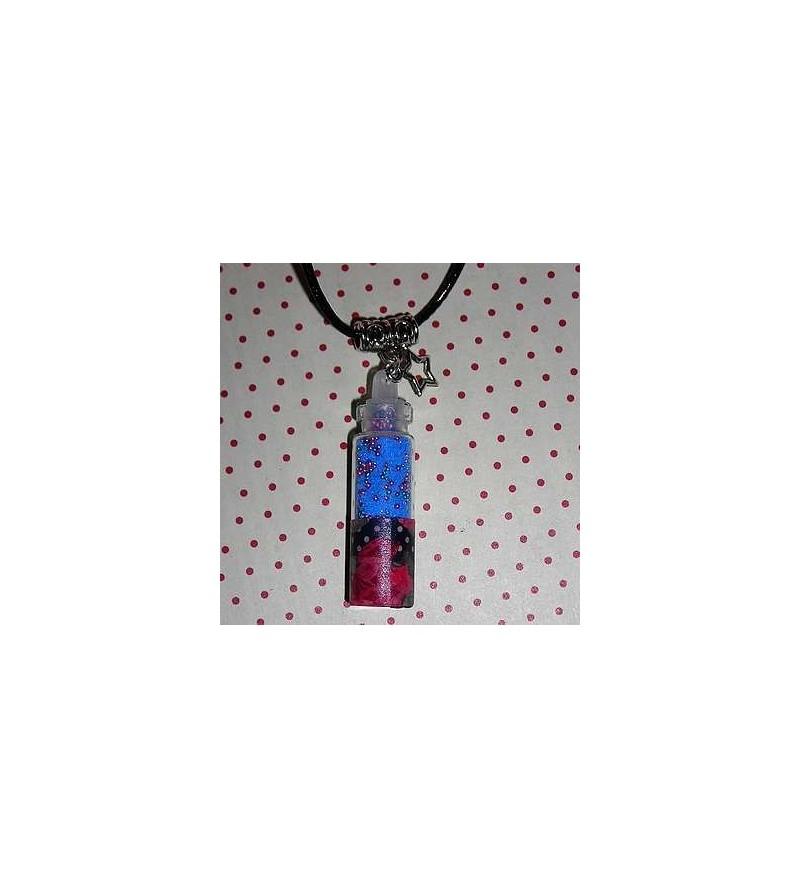 Collier fiole fleur rose et bleue