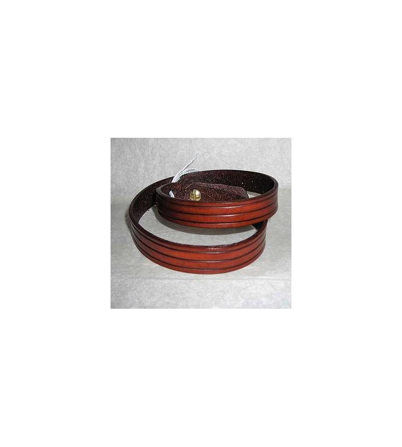 Bracelet double en cuir marron strié