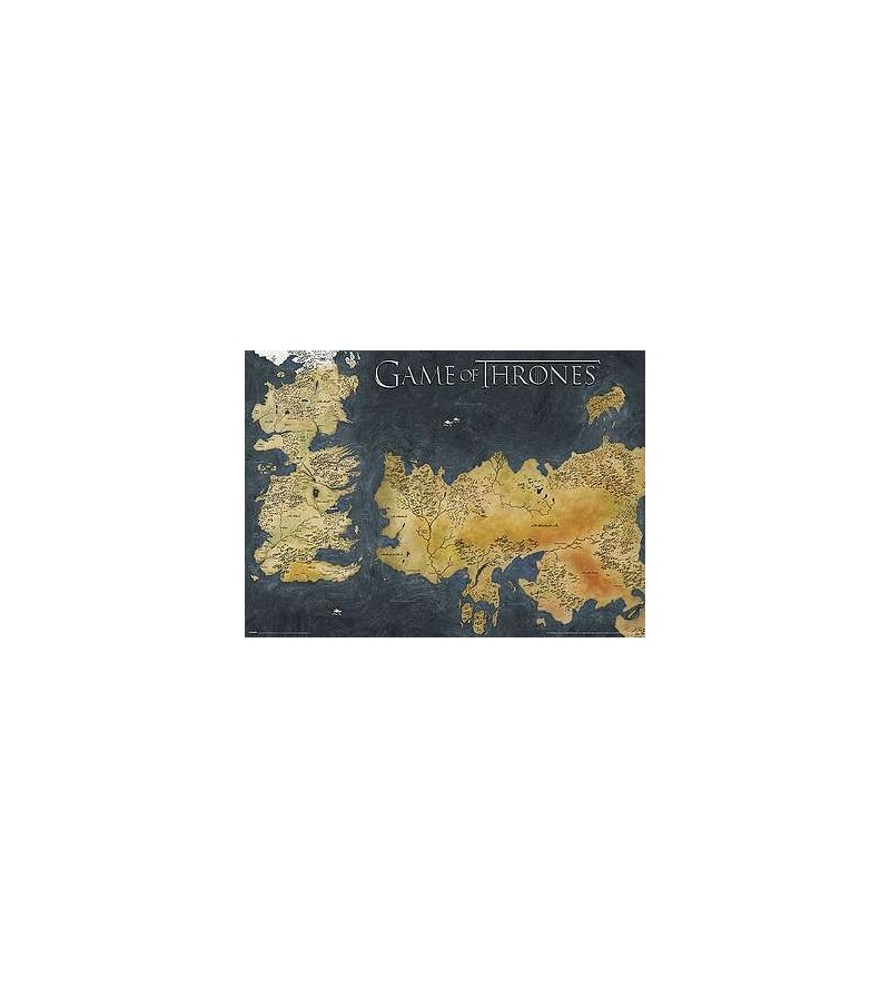 Affiche Game of thrones : Metallic Westeros & Essos map