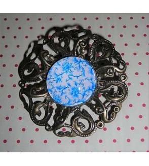 Broche cabochon fleuri bleu