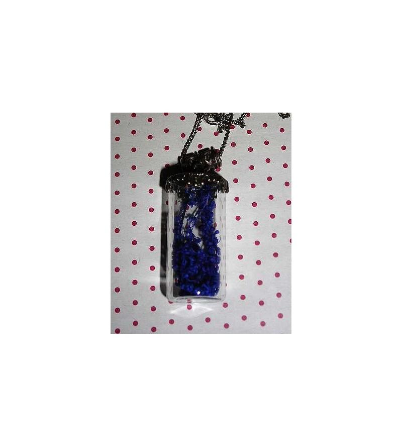 Collier fiole droite fleurs bleues