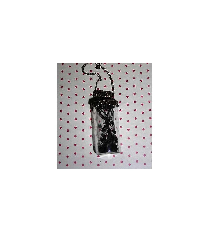 Collier fiole droite fleurs noires