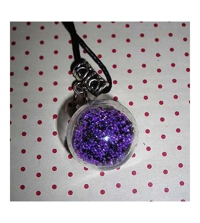 Collier globe microbilles violettes et noires