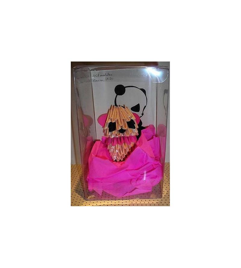 Figurine en origami 3D : Panda rose