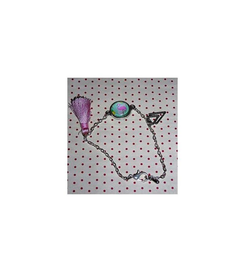 Bracelet cabochon Flamant rose