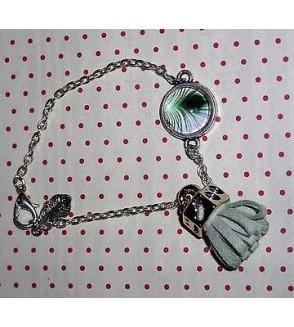 Bracelet cabochon Plume de paon