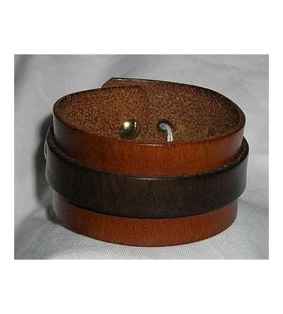 Bracelet en cuir marron clair et bande marron foncé