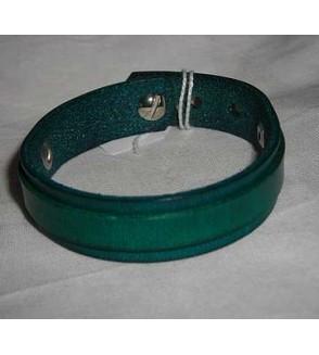 Bracelet en cuir bleu/vert