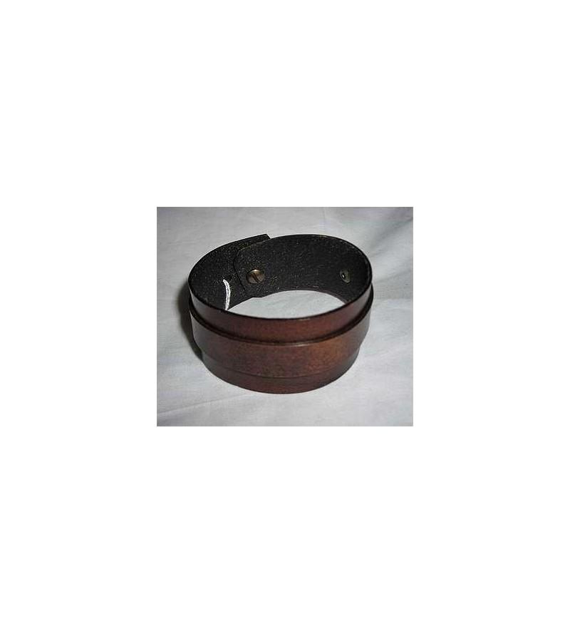 Bracelet en cuir marron et bande marron