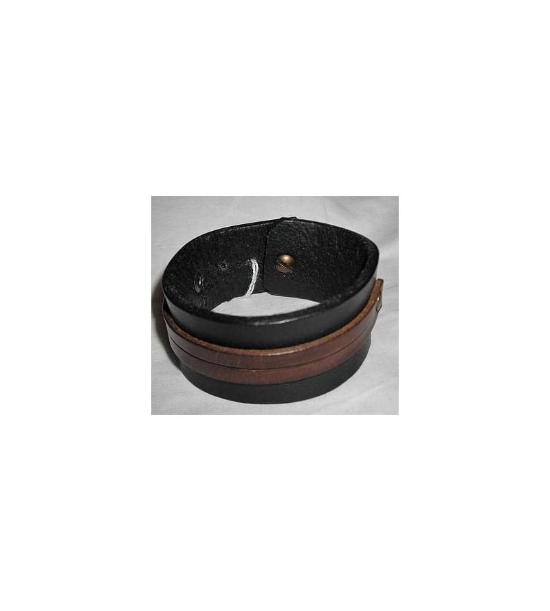 Bracelet en cuir noir et double bande marron