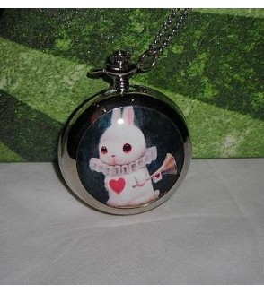 Collier-montre grand format Lapin d'Alice