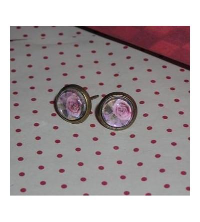 Paire de boucles d'oreilles fleurs roses