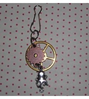 Porte-clés steampunk rouages et poulpe