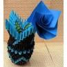 Vase en origami 3D bleu et marron